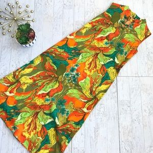 Vintage 70's flower power shift maxi dress small